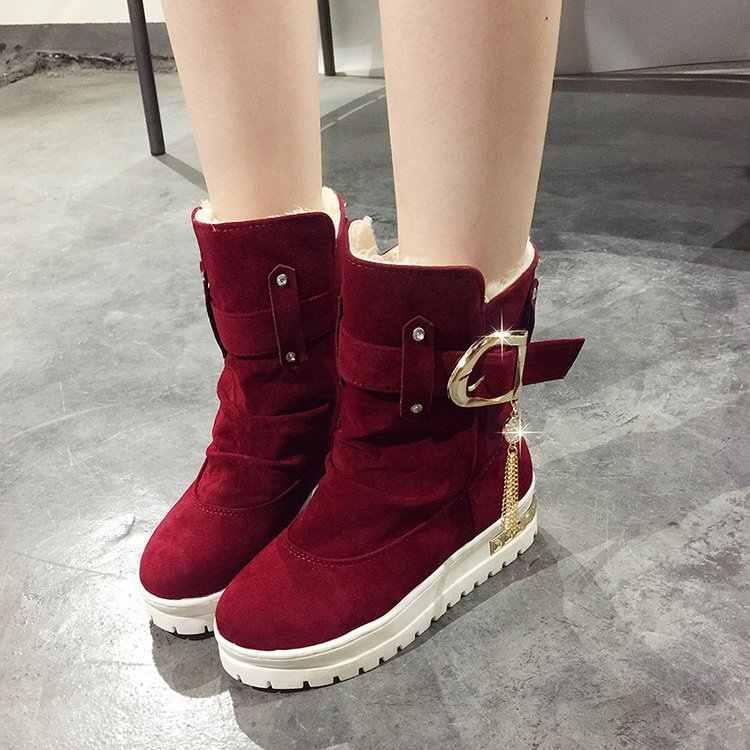 DORATASIA yeni 35-41 zarif dekorasyon ayak bileği kar botları kadın 2020 kış Platform patik bayanlar sıcak kürk takozlar ayakkabı kadın