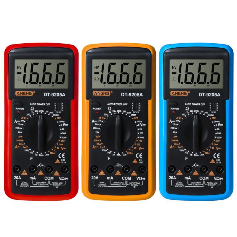 DT9205A HFE AC DC LCD Display Professional Electric Handheld Tester Meter Digital Multimeter Multimetro Ammeter Multitester