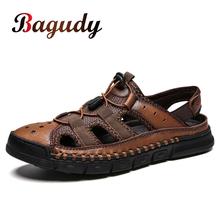 Oryginalne skórzane męskie sandały letnia plaża Outdoor Casual męskie sandały moda czarne antypoślizgowe męskie buty kapcie gruba podeszwa 48 tanie tanio bagudy CN (pochodzenie) Prawdziwej skóry Gladiator NONE Classics RUBBER Gumką Niska (1 cm-3 cm) Fabric Pasuje prawda na wymiar weź swój normalny rozmiar