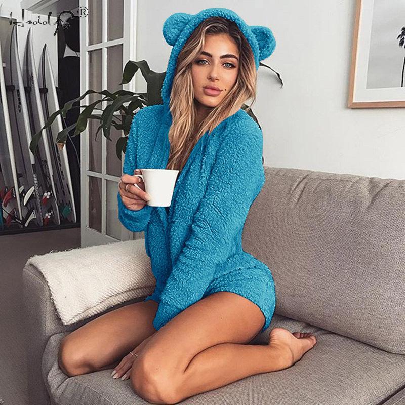 Women Pajamas Sets Flannel Cute Animal Pajamas Kits Ladies Winter One-piece Jumpsuit Nightie Pyjamas Sleepwear Homewear Hooded
