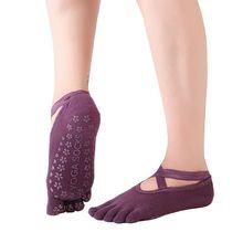 High Quality Cotton cross belt yoga socks professional non-slip plastic yoga socks soft Fitness five-finger socks