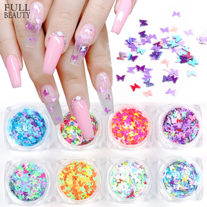 1 Box Mixed Butterfly Nail Sequins Paillette Mirror Sparkly Mermaid Sequins Spangles Polish Manicure Nails Art Decorations CHHSH