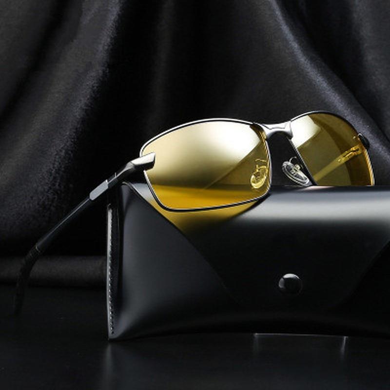 Men Polarized Sunglasses HD Night Vision Glasses For Night Driving Aluminum Magnesium Yellow Lenses Glasses For Driving UV400