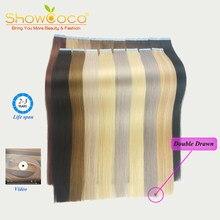 ShowCoco Double bande dessinée dans les Extensions de cheveux cheveux humains, Premium luxe vierge Remy cheveux mode Invisible, ruban Ins