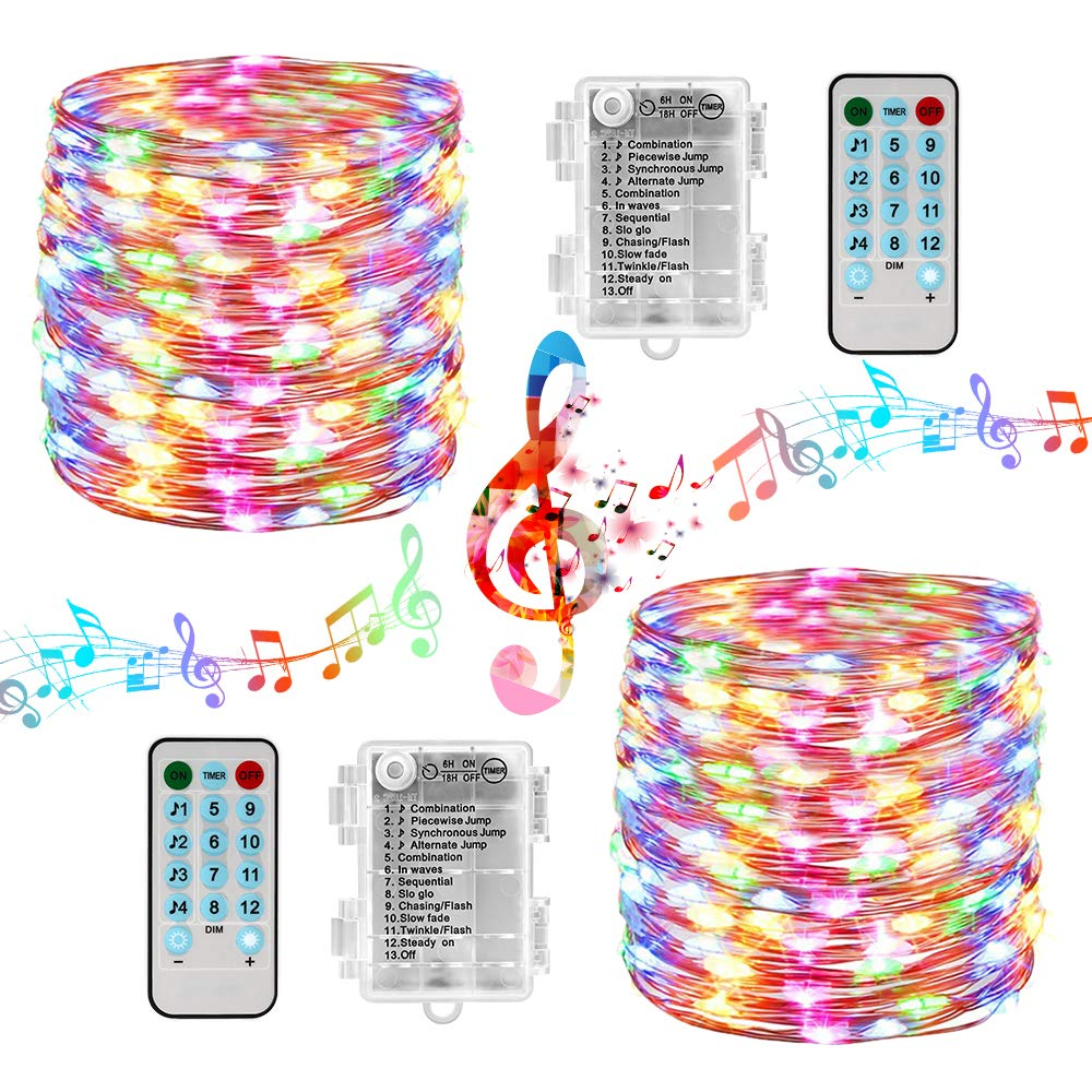 5M 10M Sound Activated Music LED String Lights 12 Modes Copper Wire Twinkle String Lights For Christmas Wedding Party New Year