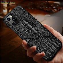 Funda de cuero genuino para iPhone 12 11 Pro XS MAX 12 Mini 12 MINI 12Pro 11Pro X XR SE 2020 6 6 S 6 6 S 7 8 Plus caso 3D cocodrilo cubierta de la cabeza