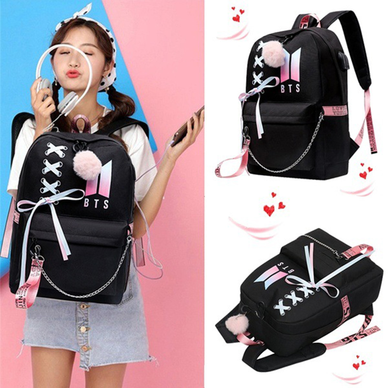 Black Idol Backpack Canvas Usb School Bags For Girls Teenagers Backpack Women Cute Korea Harajuku High College Schoolbag
