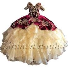 Doce 16 Quinceanera Dresses Vestidos De 15 Años Fora do Ombro com Bordado de Manga Curta vestido de Baile Prom Party Vestido 426