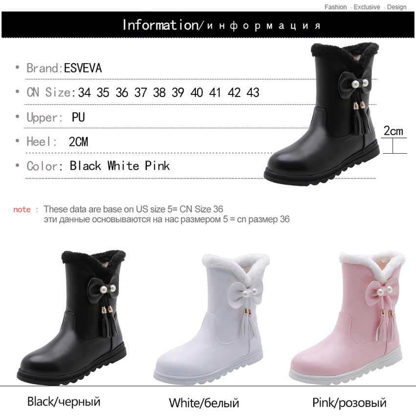 ESVEVA 2020 tatlı kelebek-düğüm platformu yuvarlak ayak PU yarım çizmeler kış sıcak kürk kare topuk kadın ayakkabı üzerinde kayma boyutu 34-43