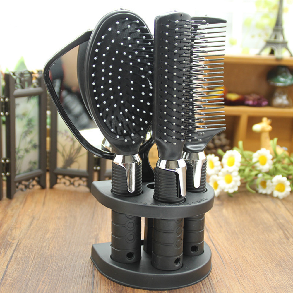 5 Pcs Salon Styling Set Women Travel Makeup Adults Hair Brush With Holder Home Portable Anti-Static Combs Mirror Tool