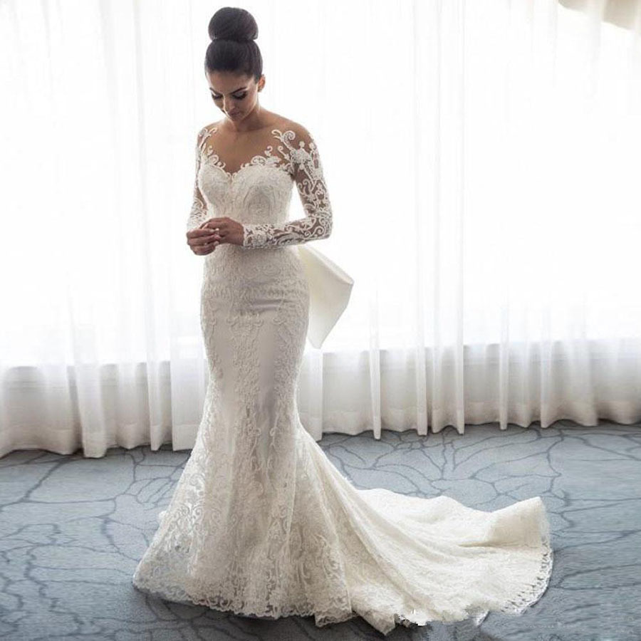 White Lace Mermaid Wedding Dresses New Sheer Mesh Top Long Sleeve Applique Bridal Gown With Detachable Skirt Vestidos De Soiree