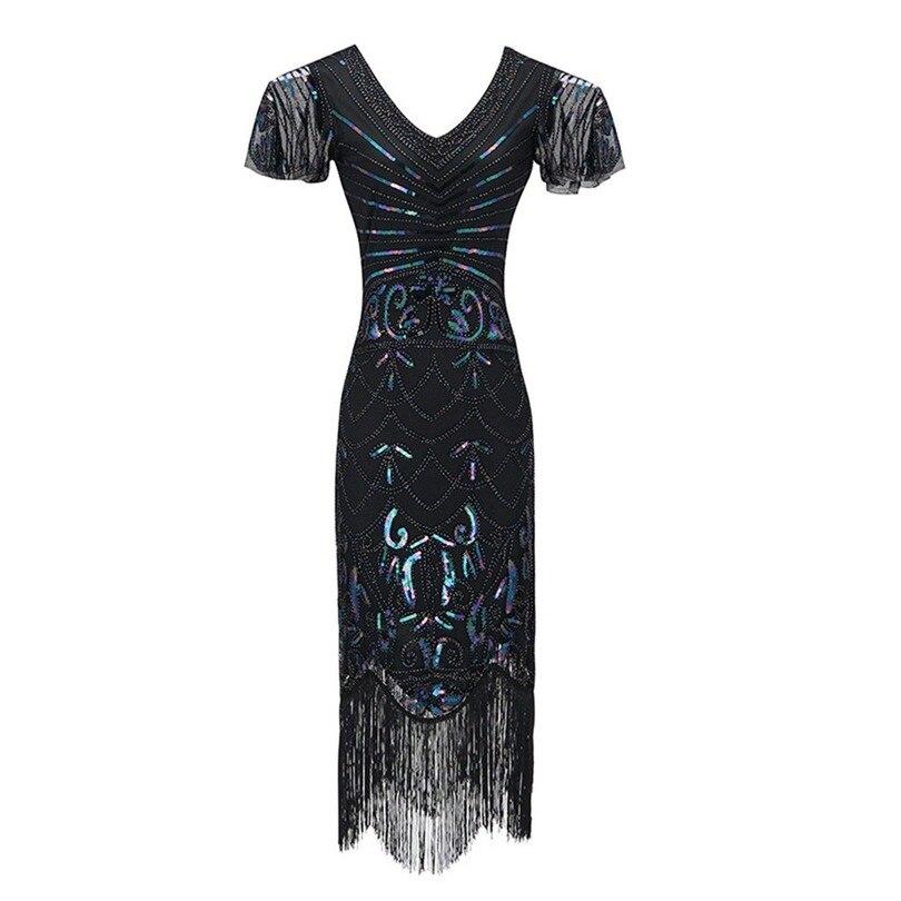 Vestido de moda feminina lantejoulas 1920s vestidos inspirados lantejoulas contas longo borla inserções vestido verão confortável