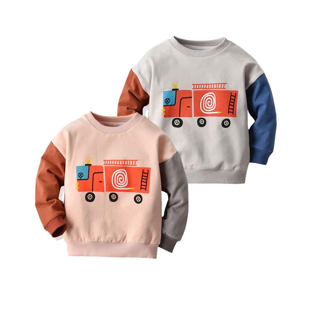 Autumn boys Sweatshirts Toddler Kids Windbreaker Coat Baby Boy Cartoon Print Patchwork Shirt Tops Tee Tracksuit Clothes Outfits
