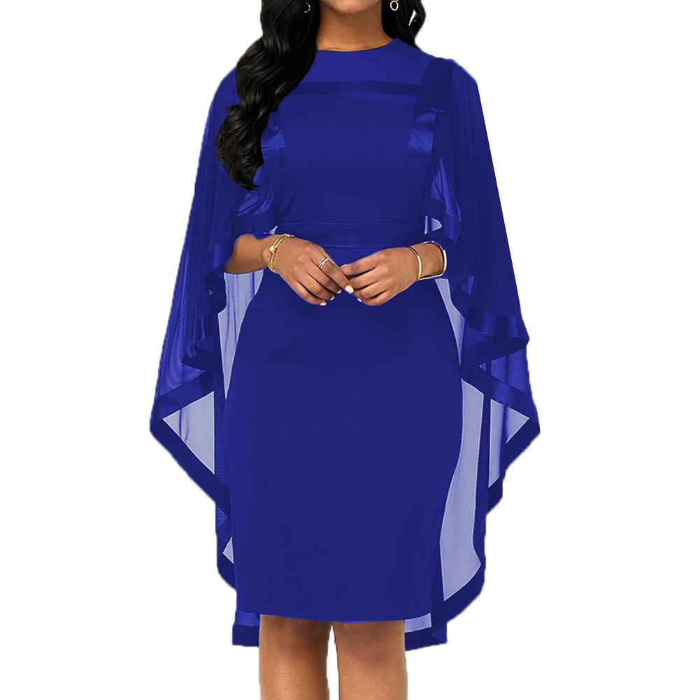 Fashion Women Cape Slim Fits Round Collar Cocktail Party Banquet Bodycon Dress Autumn Women's Mesh Gown Dress