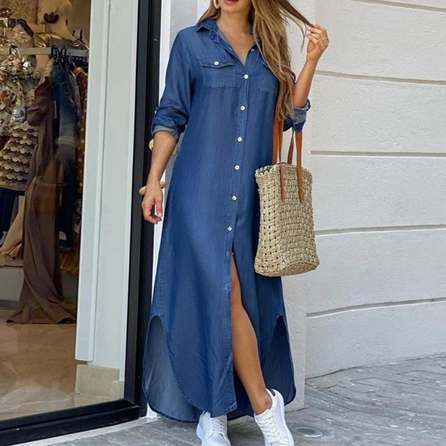 Maxi Beach Dress Elegant Women Button Long Shirt Dress Summer Split Print Lapel Neck Party Dress Long Sleeve Checked Plaid Robe 1