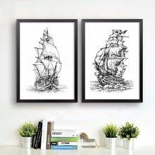 Ручная работа абстрактный пиратский корабль искусство винтажный