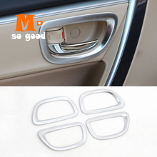 цена на Matte Interior Inner Car Door Handle Bowl Cover Trim Car Styling Accessories 2017 ABS 2014 2015 2016 4 Pieces for Toyota Corolla