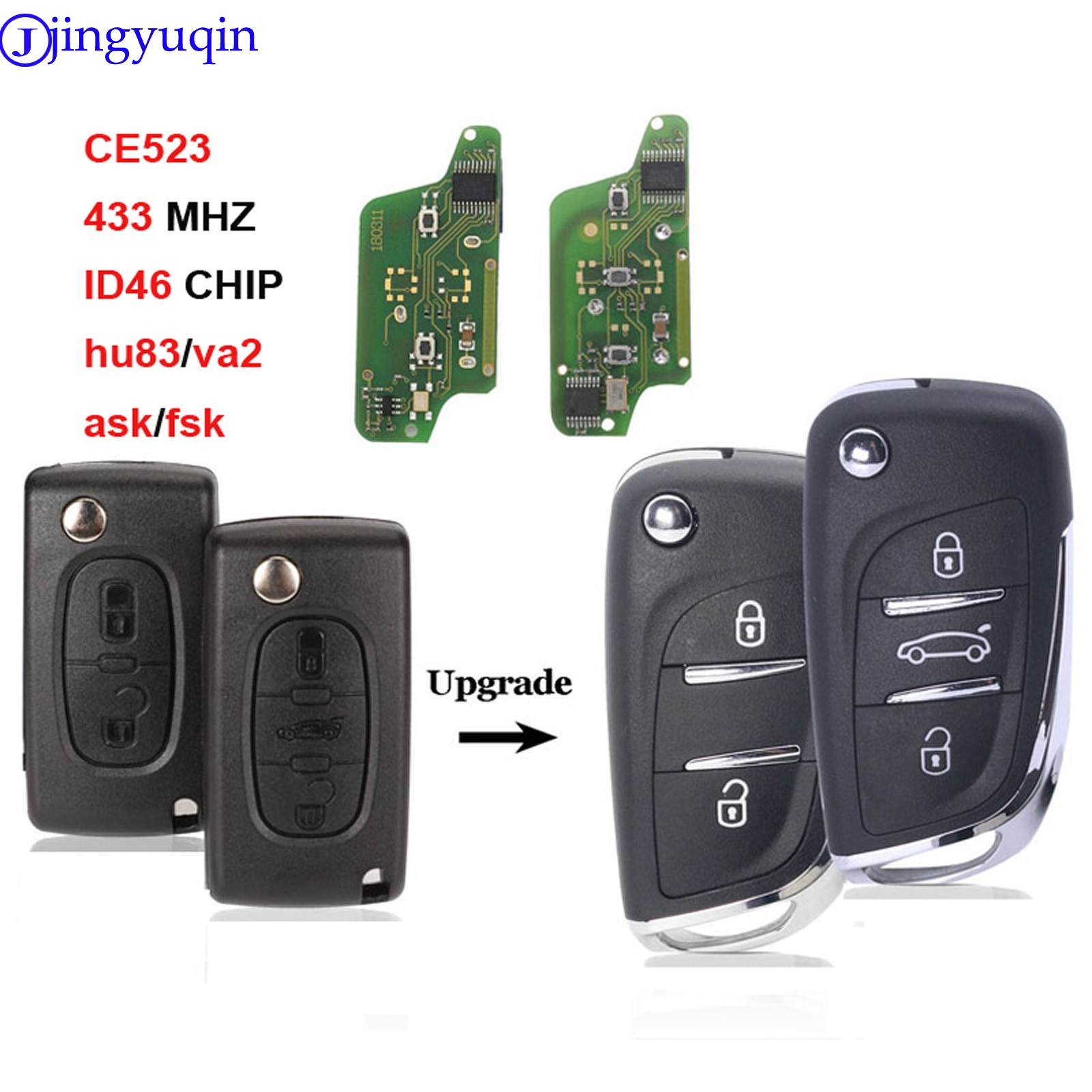 Jingyuqin ASK/FSK 433 МГц ID46 чип CE0523 модифицированный дистанционный брелок с откидной крышкой для Peugeot 307 407 607 HU83/VA2 Blade 2 3 кнопочный ключ