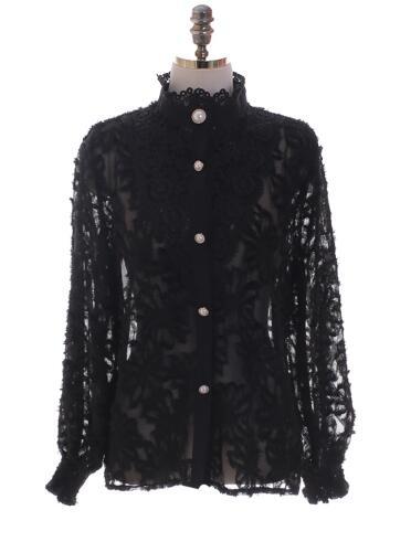 2020 Spring New Design Turtleneck Tops Women Blouses Long Sleeve Korean Style Temperament Office Lady Black Lace Vintage Shirt 7