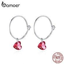 Bamoer, большие круглые серьги с красным камнем в форме сердца, очаровательные женские Висячие серьги, 925 пробы, серебряные модные ювелирные изделия BSE317