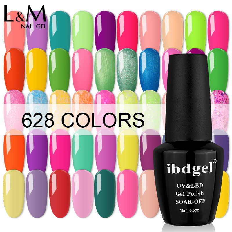 12 Pcs Ibdgel Gel Nagellak Glitter 628 Kleur Mooie Uv Gel Polish Manicure Nail Art 15Ml Vernis Lak soak Off Gel Polish