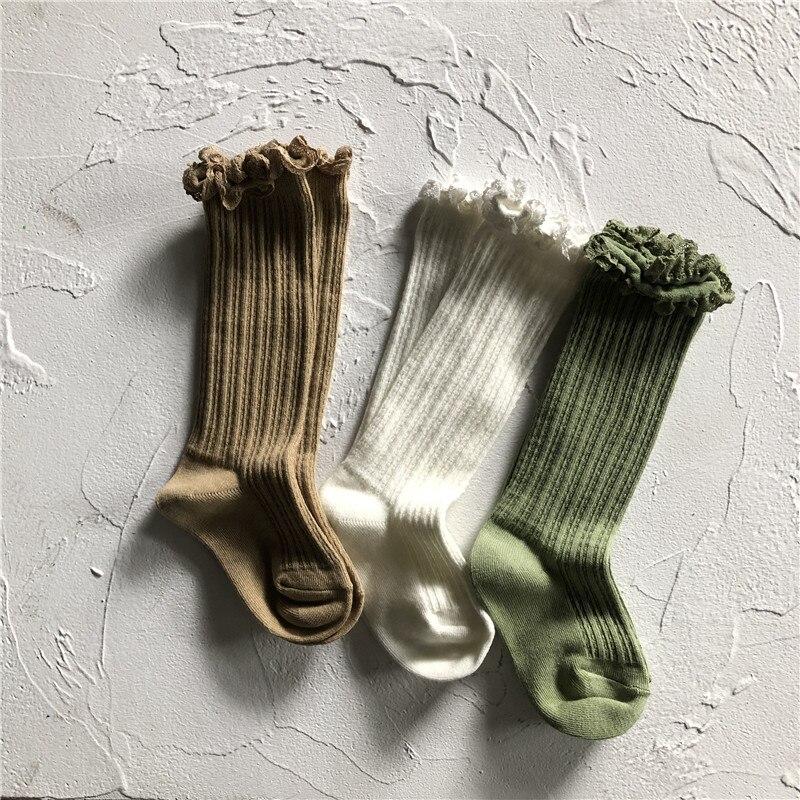 EnkeliBB Super Beautiful Fresh Style Children Girls Tube Socks With Lace Cotton Middle Knee Socks Toddler Girls Fashion Socks