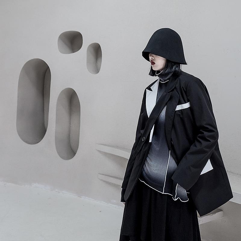 Stylish Casual Ladies Blazer Black Loose Simple Suit Jacket Long Sleeve Blazer Dames Retro High Street Women Jacket New MM60NXZ