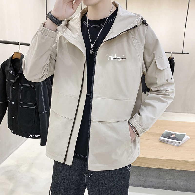 Solid Color Men Casual Jacket Hooded Coats Man Autumn Winter Clothing Size M-5XL Black Khaki Yellow Blue 4 Colors