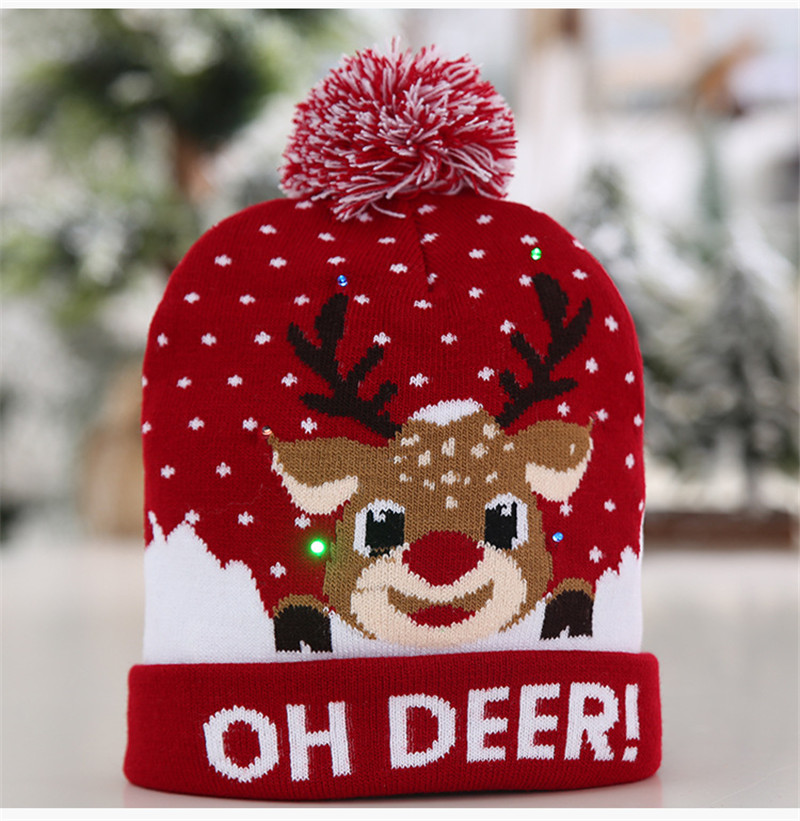 H2743e51aad9b4b16a7293ba7d17f6acco - LED Light Christmas Hats Beanie Sweater knitted Christmas Santa Hat Light Up Knitted Hat for Kid Adult For Christmas Party