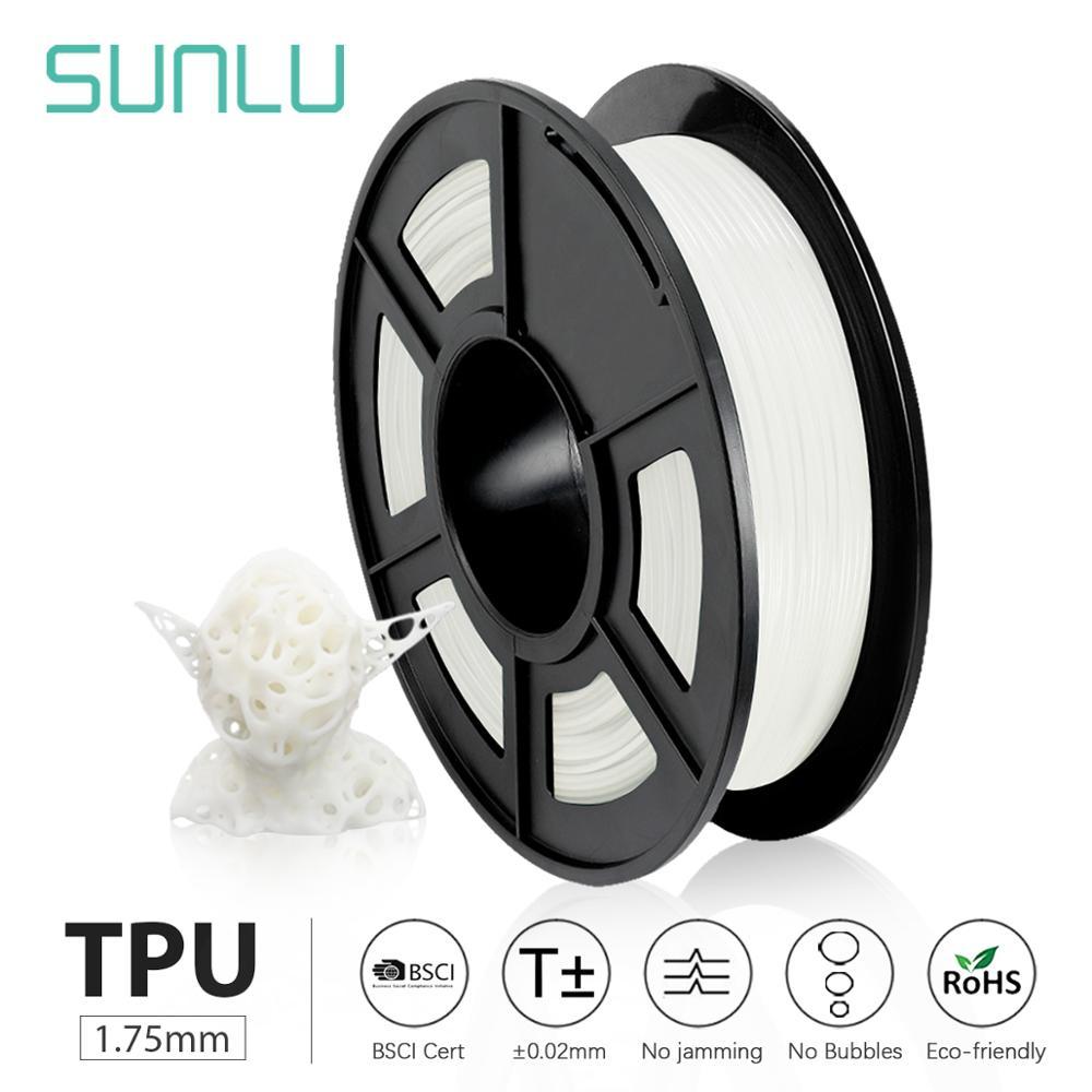 Filamento flexível 1.75mm 0.5kg do filamento tpu da impressora 3d de sunlu carretel na dureza 100% da costa 95a nenhuma bolha