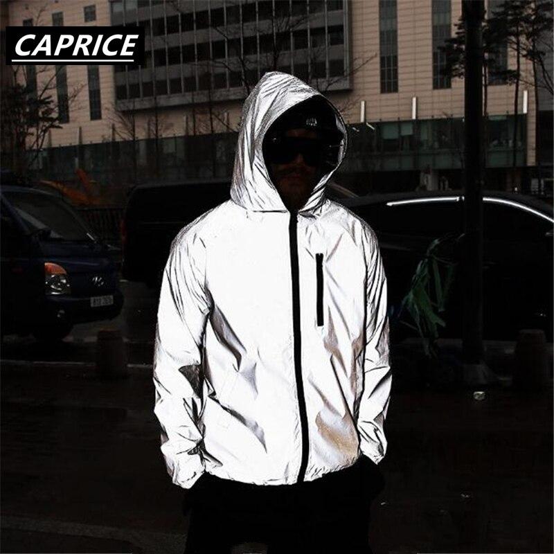 Men's 3M Full Reflective Jacket Light Hoodies Women Jackets Hip Hop Waterproof Windbreaker Hooded Streetwear Coats Man Tops