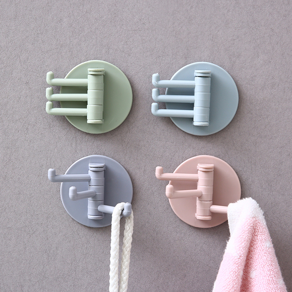 3 Hooks In 1 Multi-Purpose Plastic Strong Paste Stickers For Home Bathroom Kitchen Key Towel Hanger Holder Accessories Storage