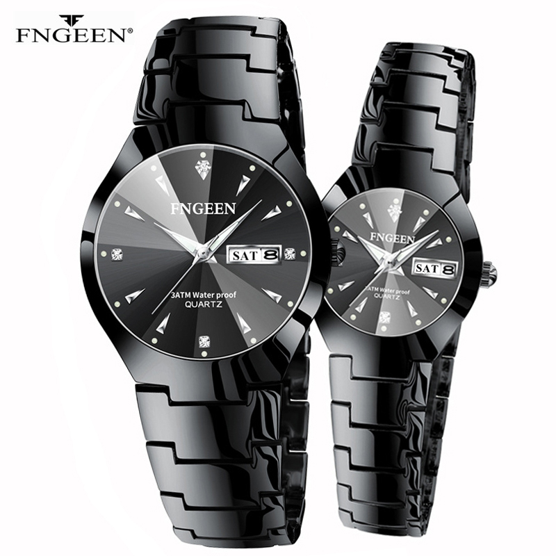 FNGEEN Series Christmas Couple Stainless Steel Luxury Women Watches Waterproof Quartz Wristwatch For Lovers Relogio Feminino