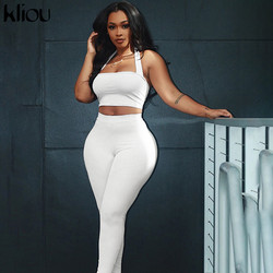 Kliou women two piece outfit halter sleeveless tank tops outdoor leggings sporty matching set skinny tracksuit fitness outfits