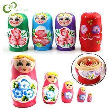 5 sztuk/zestaw rosyjski gniazdowania drewniane Matryoshka zestaw lalek ręcznie malowane wystrój rosyjski matrioszki dziewczynka zabawka na prezent dla dziecka ZXH
