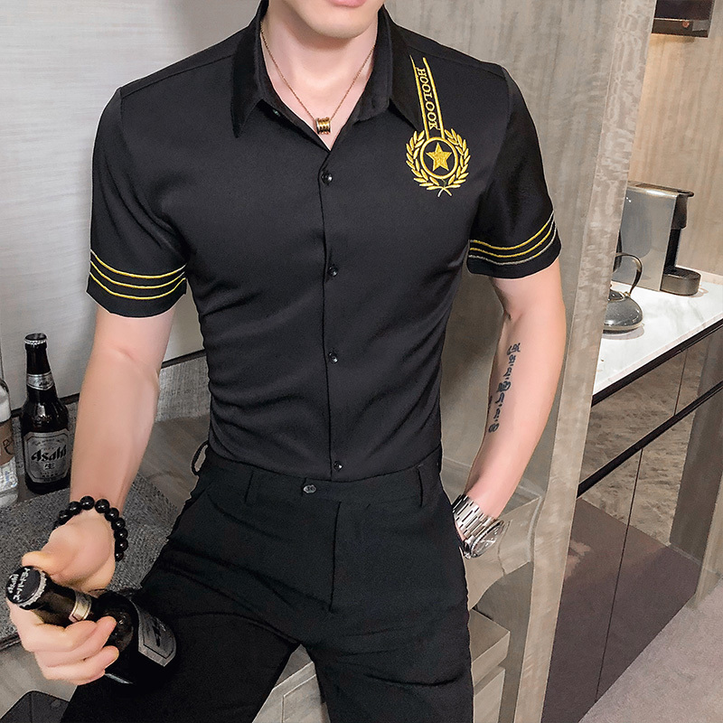Fashion Nightclub Party Tuxedo Male Clothing Streetwear Social Top Luxury Gold Embroidery Shirt Men Slim Fit Casual Dress Shirts