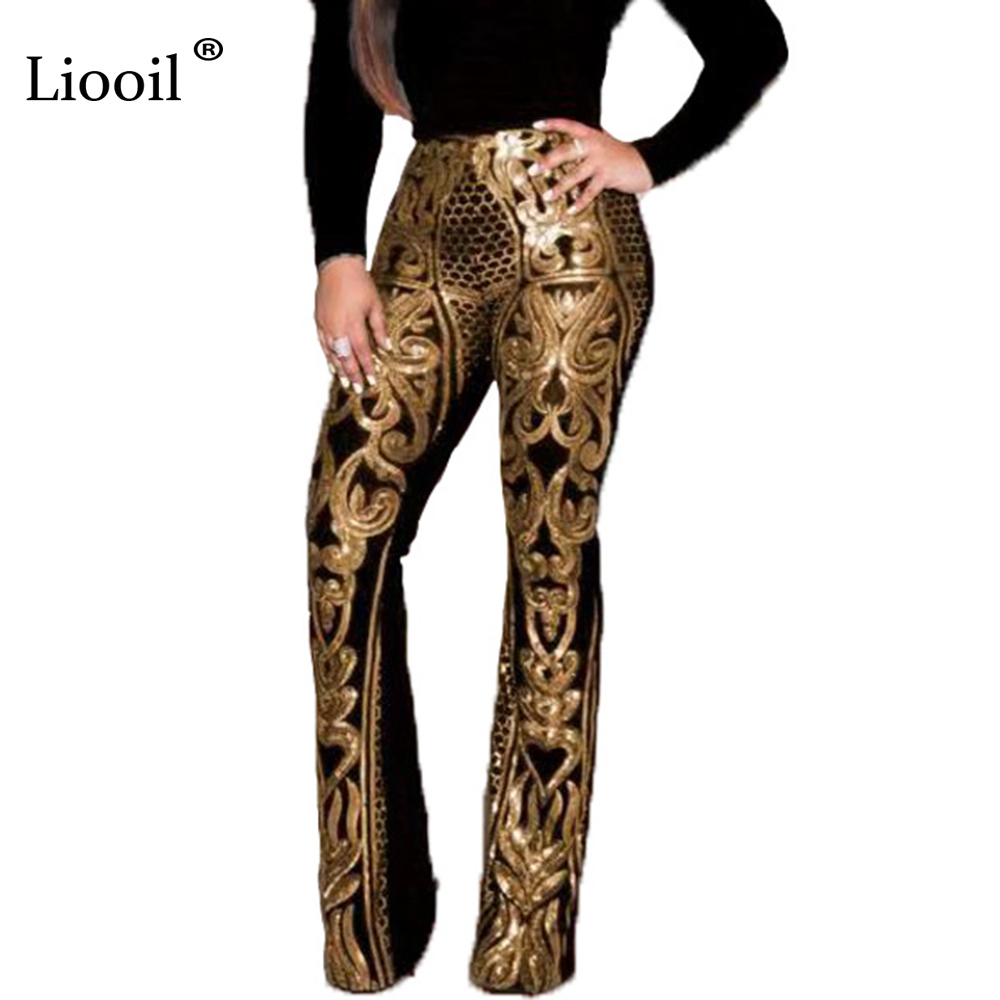 Liooil Sexy Red Splice Sequin High Waist Pants Autumn Winter 2020 Streetwear Fashion Tight Trousers Women Party Club Long Pants