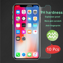 10Pcs Protective glass for iphone 7 x xr screen protector on 8 plus