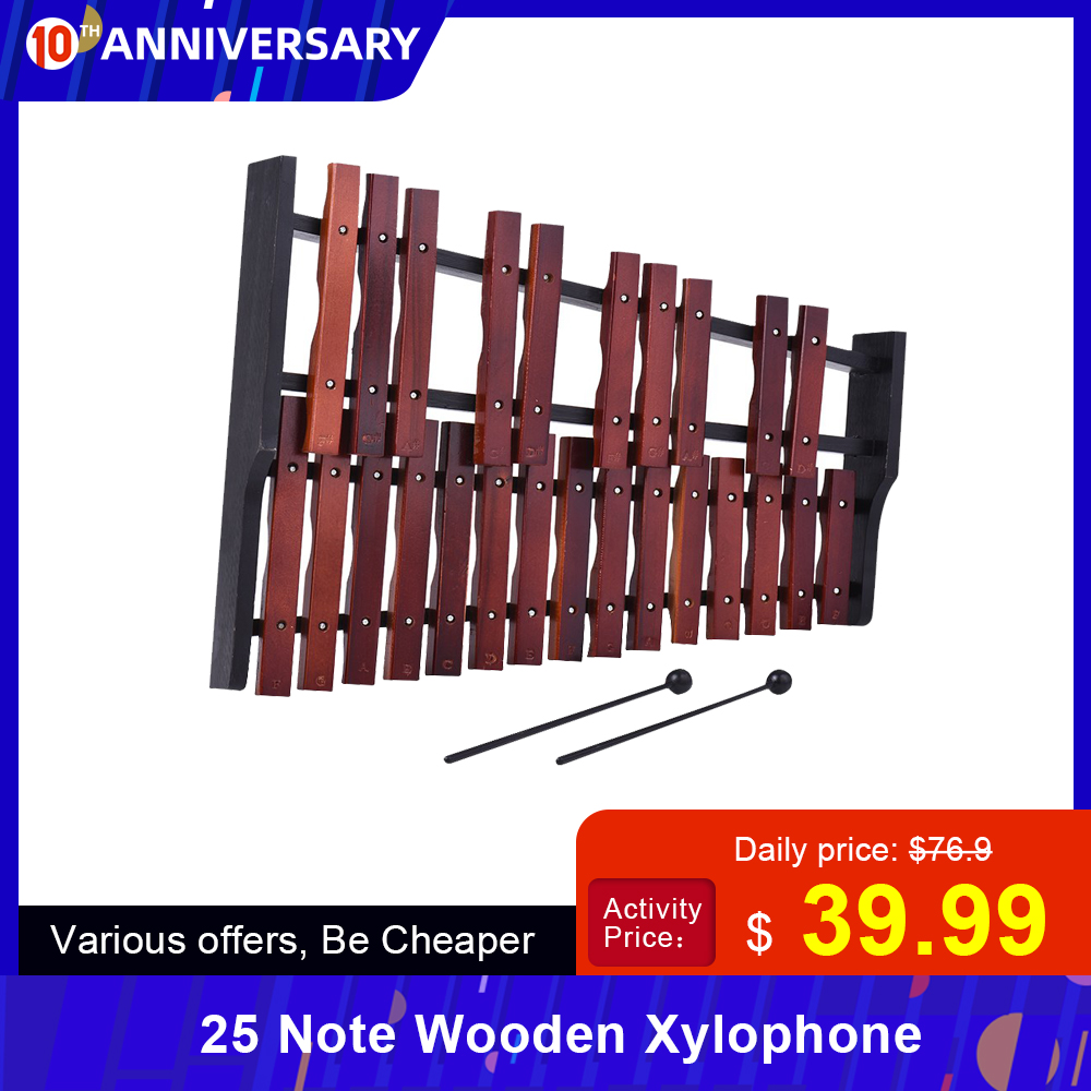 Ammoon Hot Sale 25 Note Wooden Xylophone Percussion Early Educational Musical Instrument Gift For Kids Children Baby