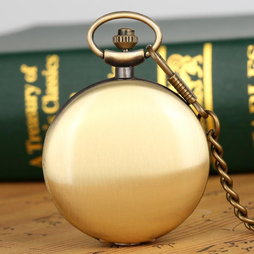 Smooth Bronze Case Quartz Pocket Watch Arabic Numerals Pocket Watches Alloy Pendant Chain Pendant Clock Dad Gift Men Women