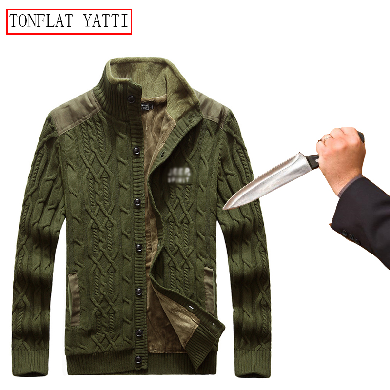 Self-defense Men Knit Anti-cutting Stab-resistant Sweater Plus Velvet Invisible Flexible Safety Clothing Police Fbi Swat Jacket