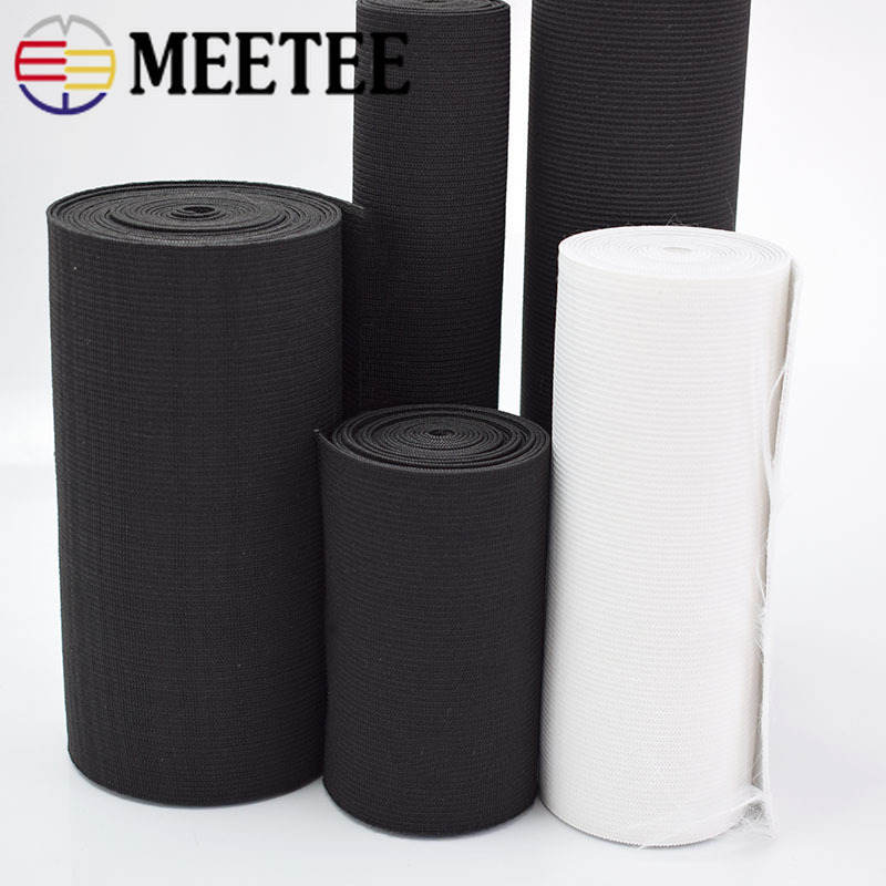 Купить с кэшбэком Meetee 10/15/20/25/30/40/50cm Black White Crochet Belt Elastic Bands Strap for Maternal Abdomen Wrist Waist DIY Sewing Rubber