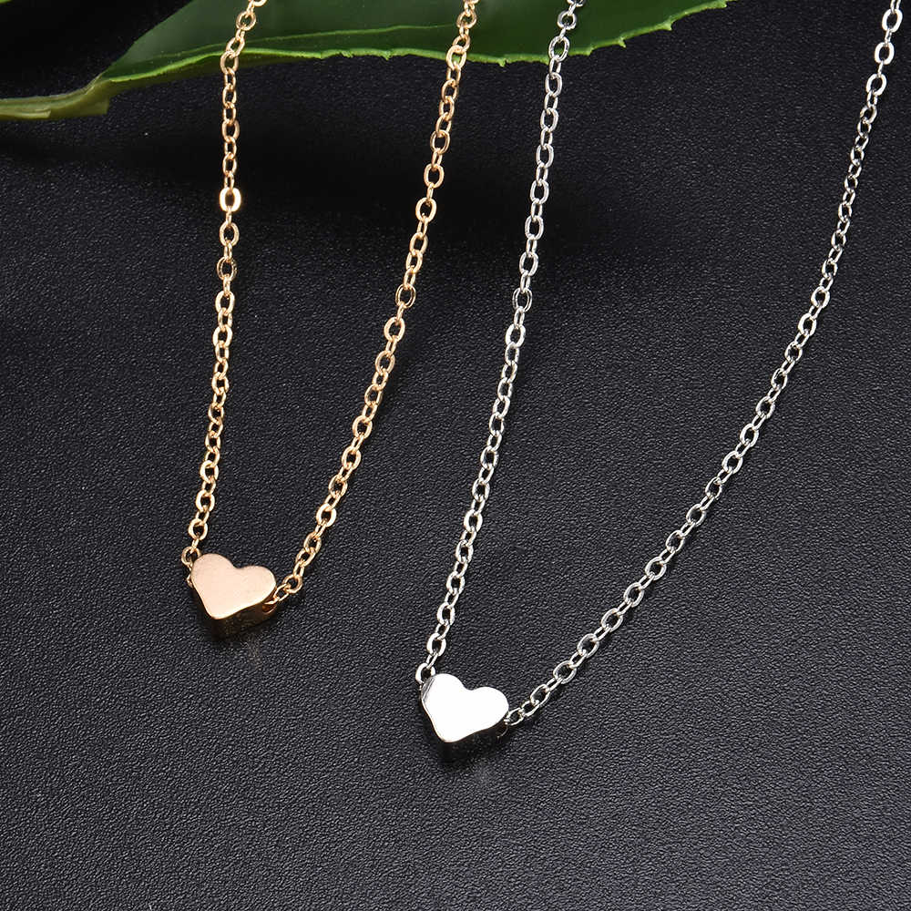 Summer Fashion Women Lady Simple Love Shape Heart Pendant Choker Chain Necklace Bib Beach Summer Necklace Jewelry