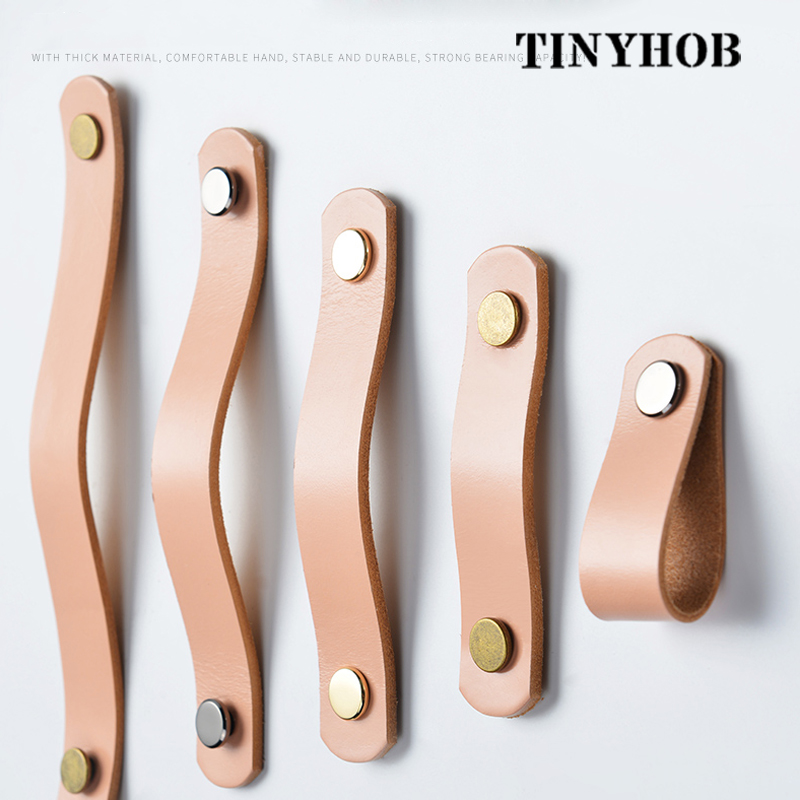 Handmade Cabinet Handle Soft Cow Leather Leather Dresser Drawer Door Knobs Pull Furniture Hardware Pink Leather Handle