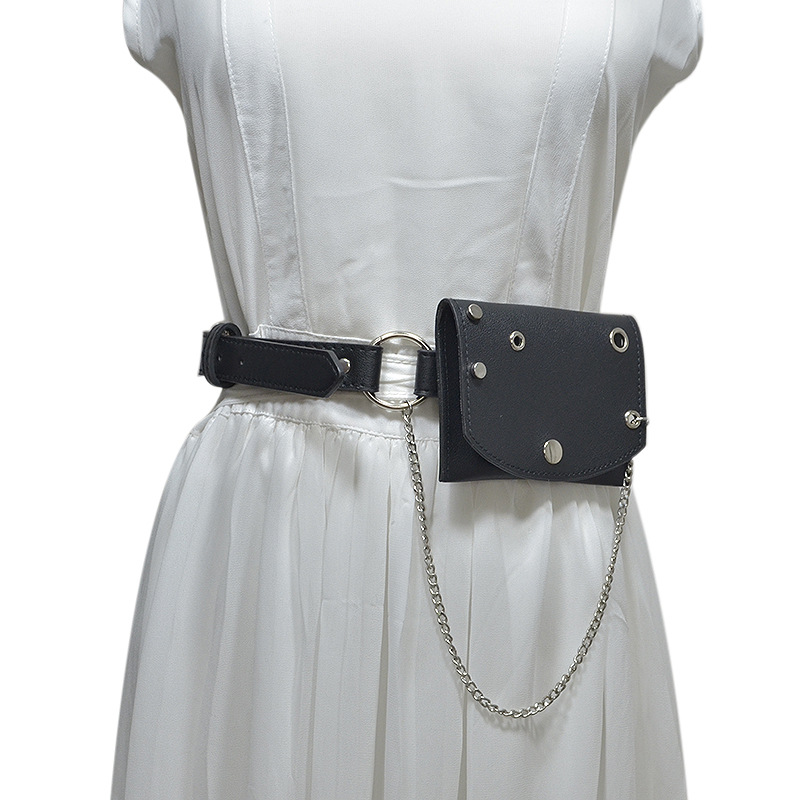 Fashion Belt For Women 2019 Punk Streetwear All Matching Belts With Waist Bag Metal Chain Kpop Leather Western Cowgirl GG Belt