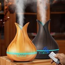 KBAYBO ultradźwiękowy nawilżacz powietrza 400ml zapachowy olejek eteryczny dyfuzor z drewna ziarna 7 zmiana koloru LED światła dla Office Home