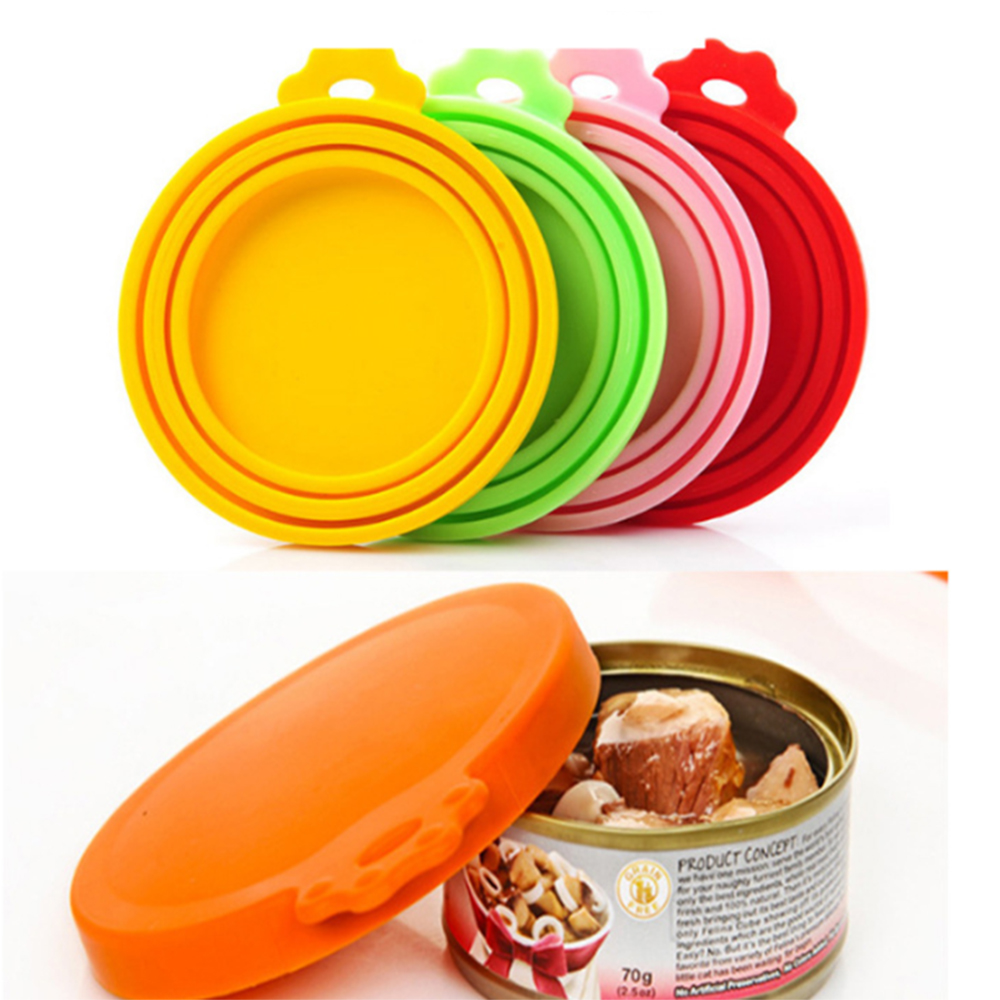 3pcs Reusable Pet Food Can Cover Silicone Dogs Cats Storage Tin Cap Lid Seal Cover Pet Supplies