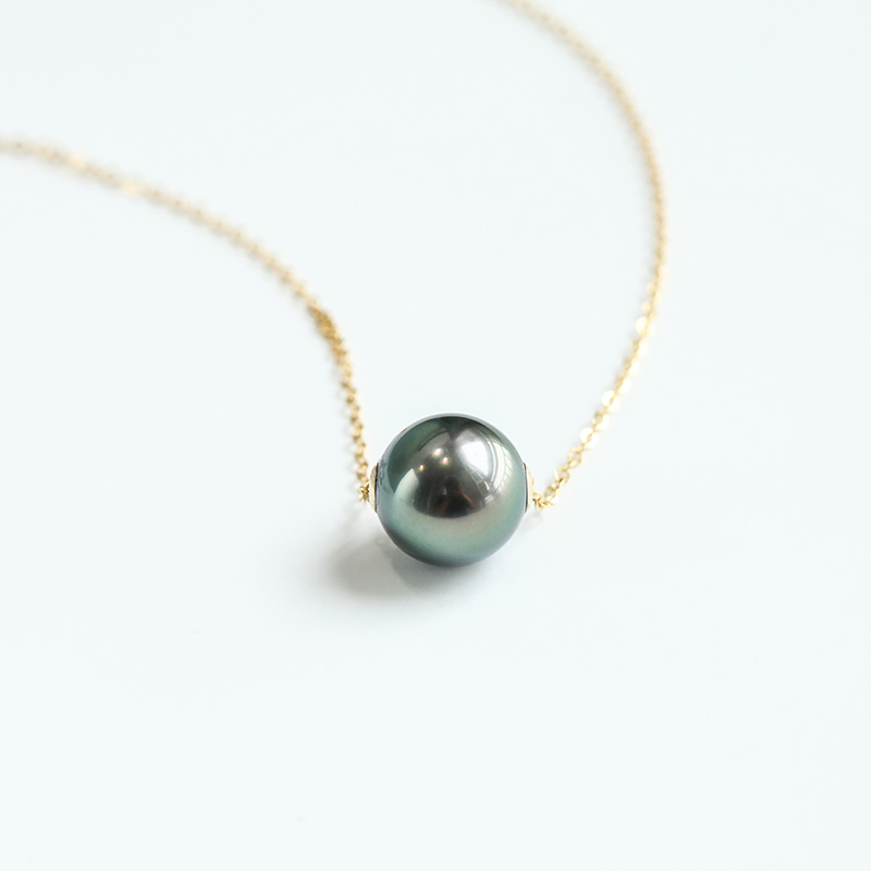 Simple Classic Design Tahitian Sea Water Single Black Pearl Pendant Necklace Fashion Necklaces for Women Gold Necklace Women - 3