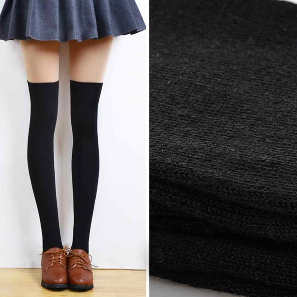 ถุงน่องสตรี 3 คู่สีดำสีขาวสีเทาต้นขาสูงถุงเท้ายาวอะคริลิคเข่าถุงเท้า Boot สต็อก Calcetines mujer