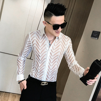 Sexy Lace Shirt Men See Through Tuxedo Shirt Long Sleeve Slim Fit Party Wear Shirts For Men Clothes 2019 Club Dress Blouse Homme